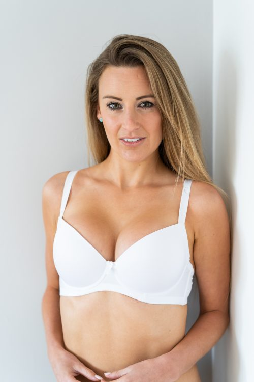 white T-shirt bra