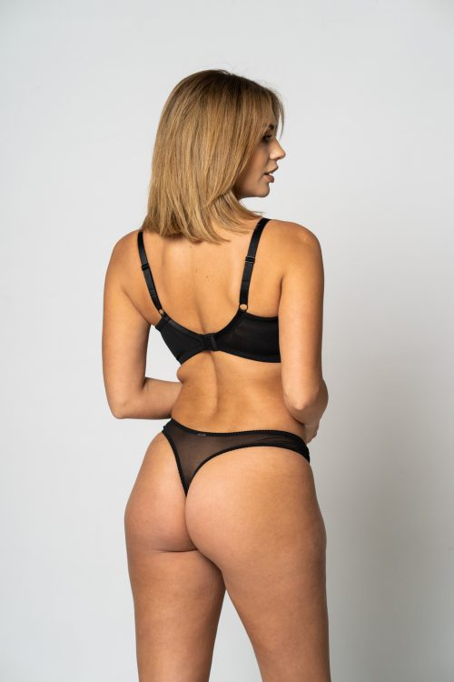 Black Lace Trim Thong