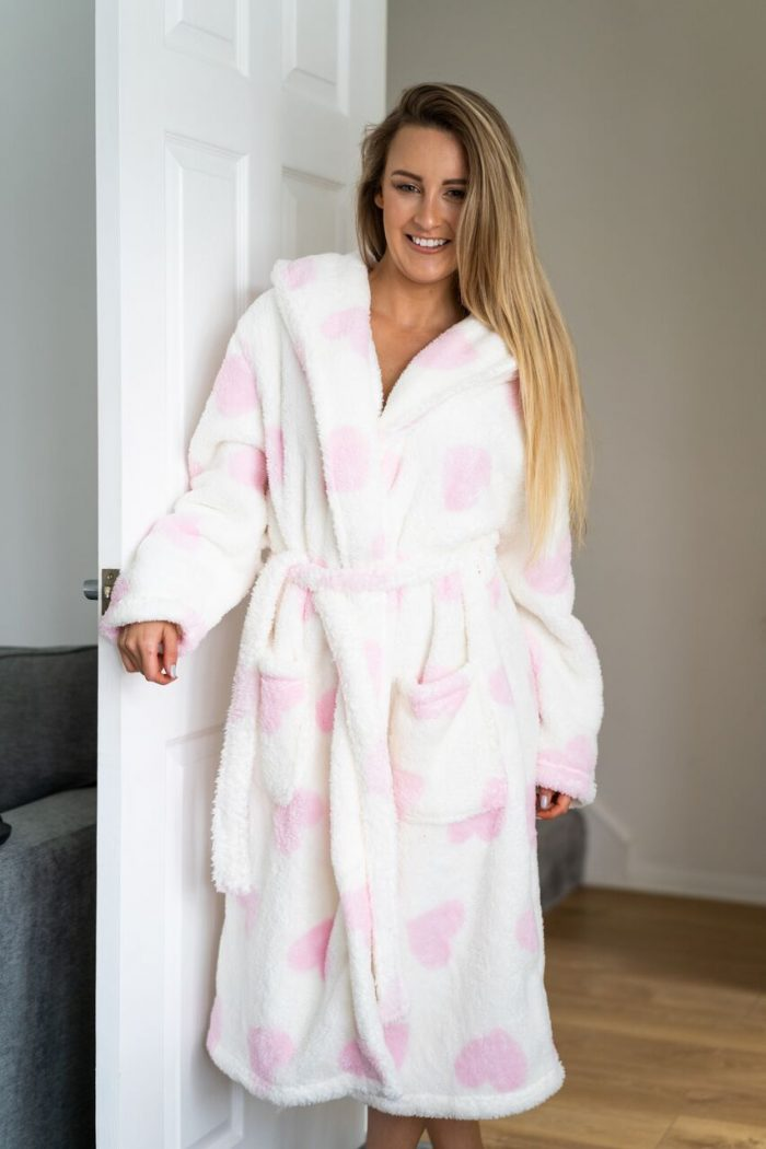 white and pink dressing gown