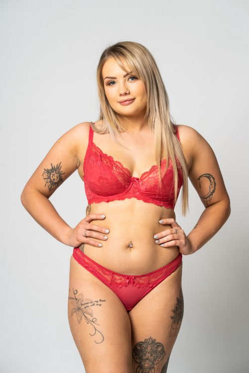 Berry Lace Trim Thong