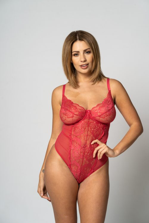 sexy red lingerie body