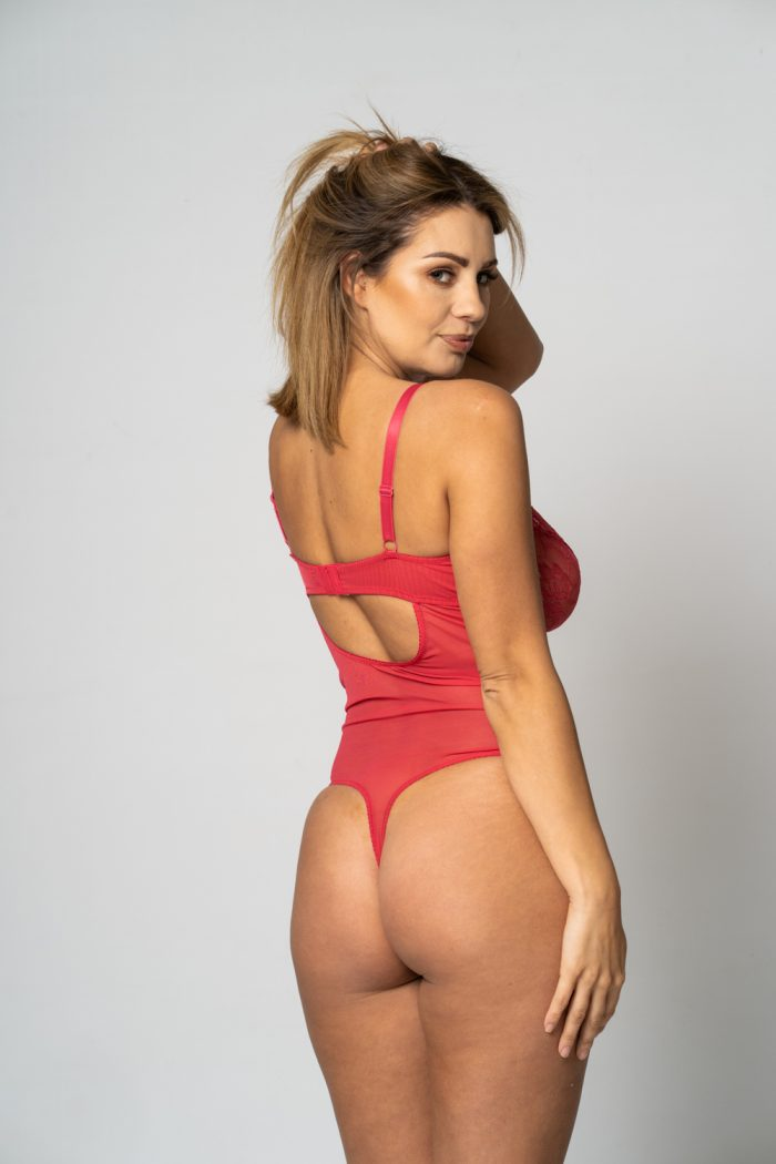 red lingerie body