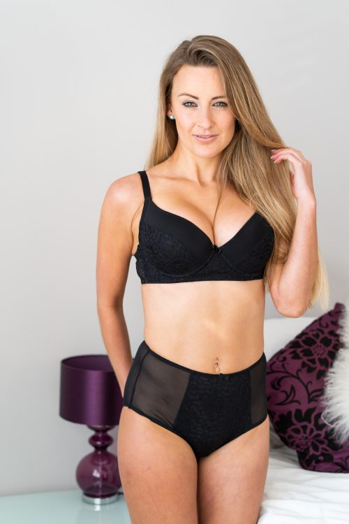 Black Animal Lace Push Up T-shirt Bra