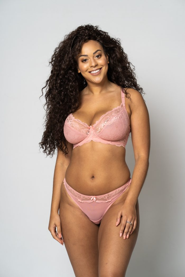 Dusty Pink Lace Trim Thong