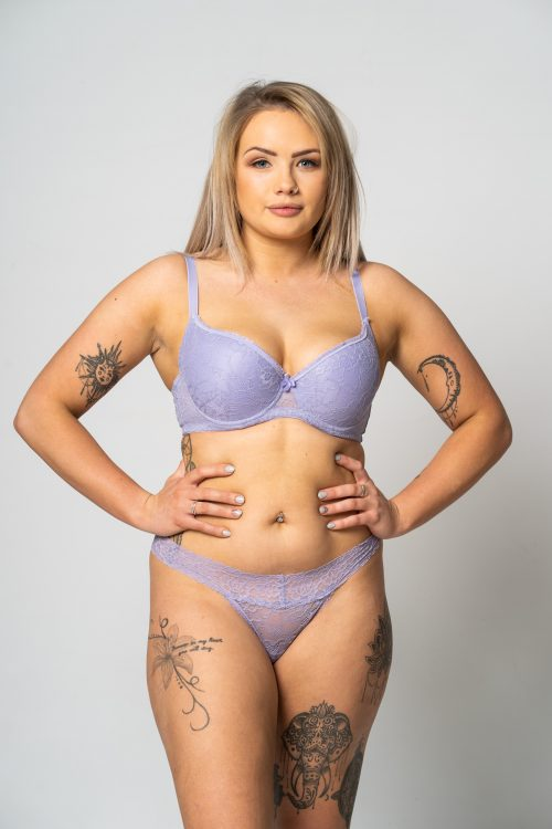Lilac All Over Lace Bra and thong