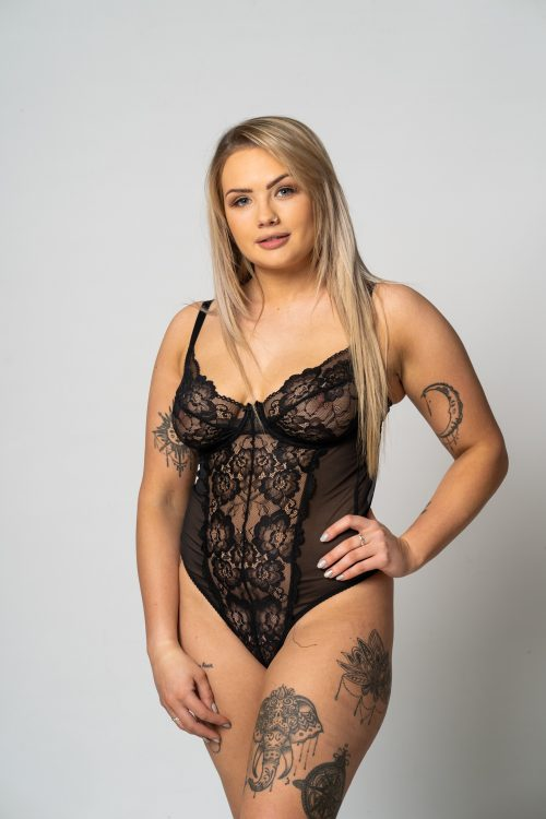 Underwired Black Lace and Mesh Body