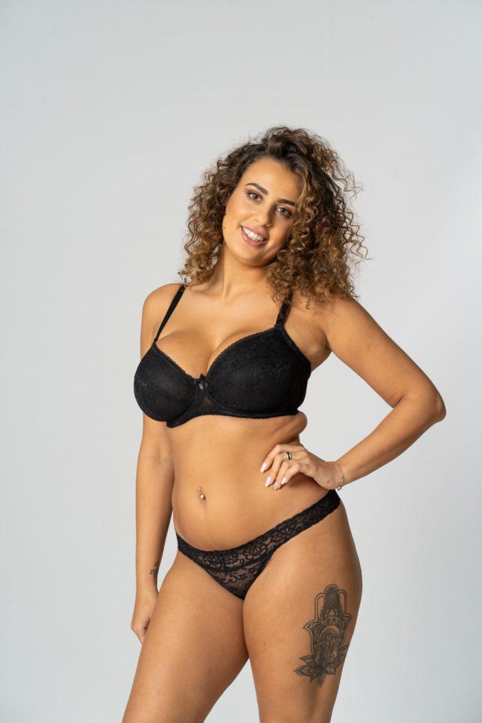 Black Unpadded Lace Balconette Bra