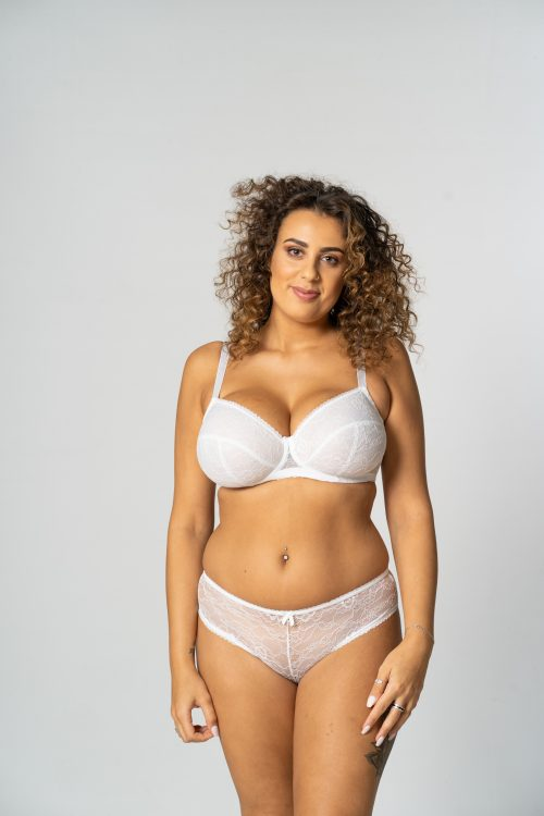 White Unpadded Lace Balconette Bra