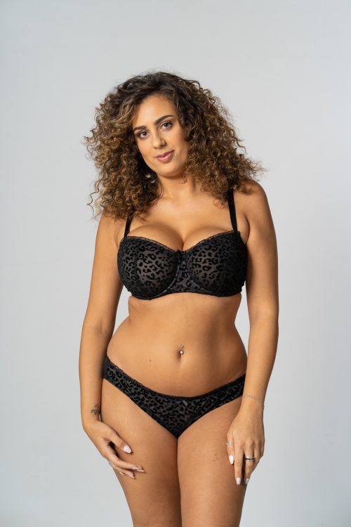 Black Unpadded Animal Flock Balconette Bra