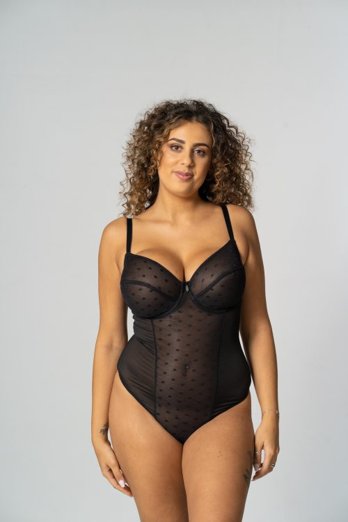 Black Unpadded Heart Jacquard Body